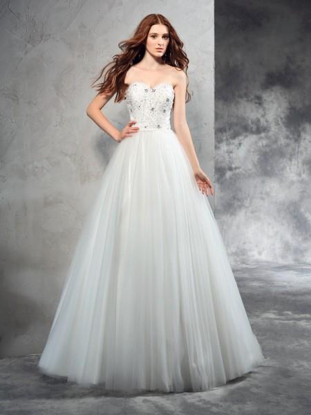 A-Line/Princess Sweetheart Beading Sleeveless Long Net Wedding Dresses