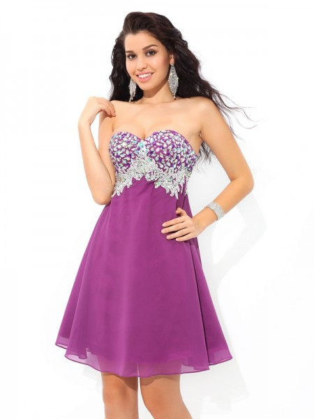 A-Line/Princess Sweetheart Rhinestone Sleeveless Short Chiffon Cocktail Dresses