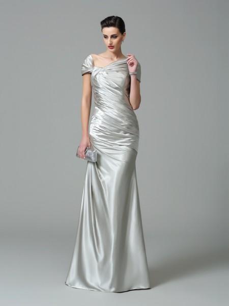 Sheath/Column Off-the-Shoulder Pleats Sleeveless Long Silk like Satin Dresses