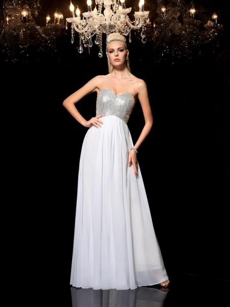 A-Line/Princess Sweetheart Sequin Sleeveless Long Chiffon Dresses