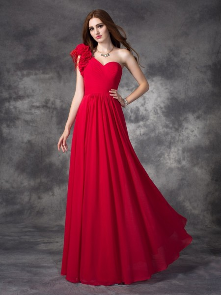 A-line/Princess One-Shoulder Hand-Made Flower Sleeveless Long Chiffon Dresses
