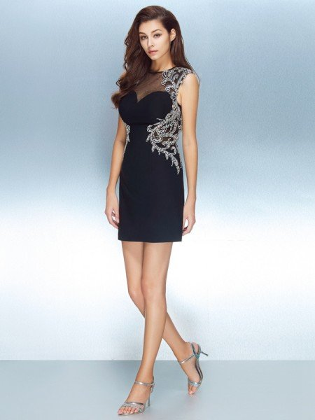 c7ba17461a5 Sheath Column Jewel Short Sleeves Net Crystal Short Mini Dresses
