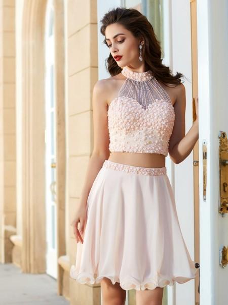 A-Line/Princess Halter Beading Sleeveless Chiffon Short/Mini Two Piece Dresses