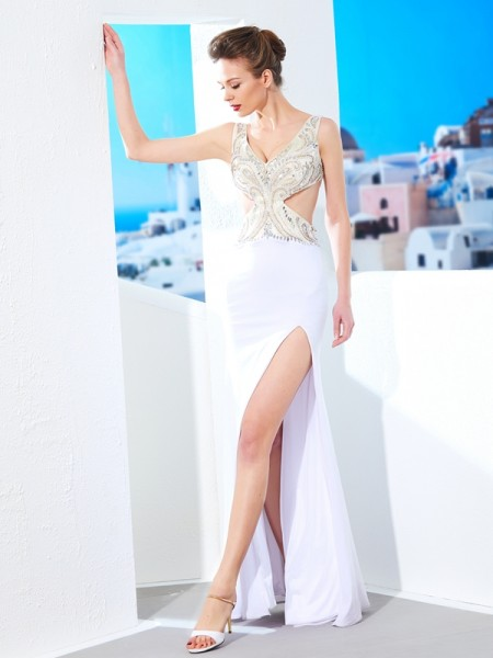 Sheath/Column V-neck Sleeveless Beading Floor-Length Spandex Dresses