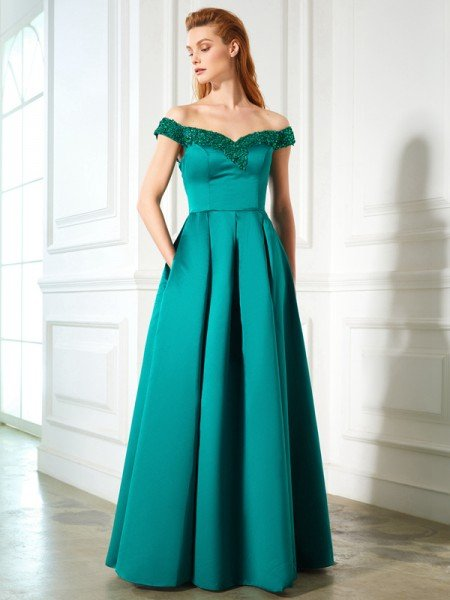 A-Line/Princess Off-the-Shoulder Sequin Sleeveless Satin Floor-Length Dresses
