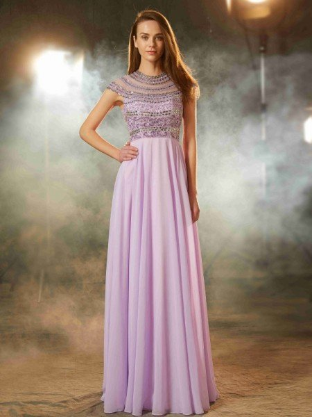 A-Line/Princess Scoop Short Sleeves Floor-Length Beading Chiffon Dresses