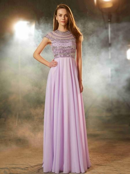 A-Line/Princess Scoop Short Sleeves Floor-Length Beading Chiffon Dresses