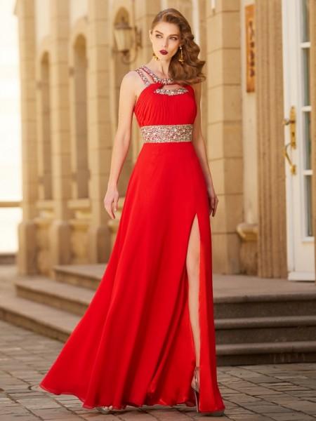 A-line/Princess Scoop Beading Sleeveless Floor-length Chiffon Dresses