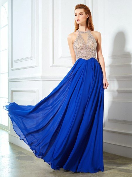 A-Line/Princess Scoop Sleeveless Floor-Length Crystal Chiffon Dresses