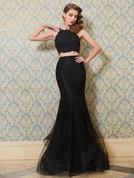 Trumpet/Mermaid Spaghetti Straps Sleeveless Applique Floor-Length Tulle Two Piece Dresses