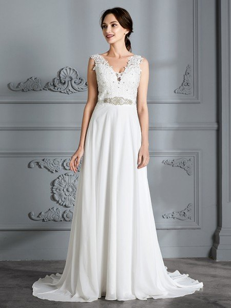 4121841550c A-Line Princess Sleeveless V-neck Sweep Brush Train Chiffon Wedding Dresses