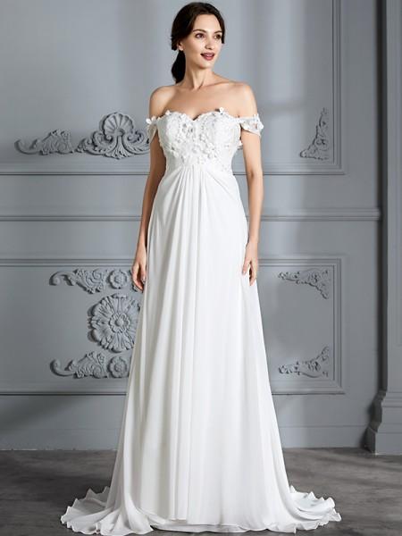 A-Line/Princess Off-the-Shoulder Sleeveless Chiffon Floor-Length Wedding Dresses