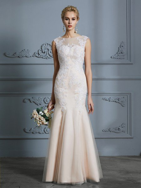 3c5a812d7d3f Trumpet/Mermaid Scoop Sleeveless Tulle Applique Floor-Length Wedding Dresses