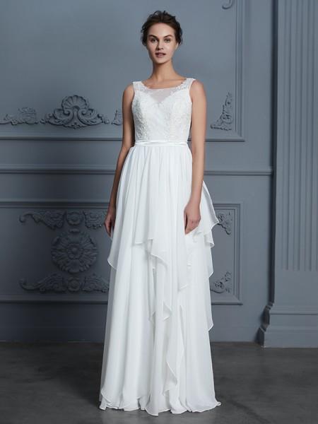 A-Line/Princess Scoop Sleeveless Ruffles Floor-Length Chiffon Wedding Dresses