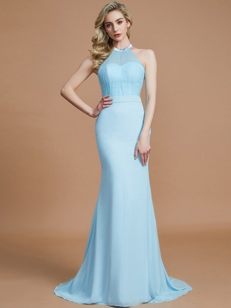 Trumpet/Mermaid Sleeveless Scoop Sweep/Brush Train Chiffon Bridesmaid Dresses