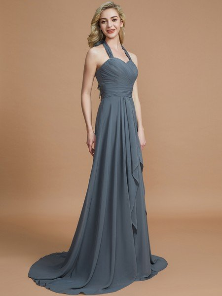 A-Line/Princess Halter Sleeveless Chiffon Sweep/Brush Train Bridesmaid Dresses