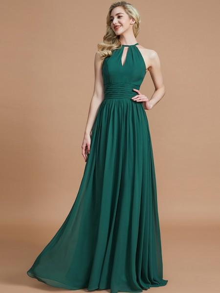 A-Line/Princess Chiffon Scoop Sleeveless Floor-Length Bridesmaid Dresses