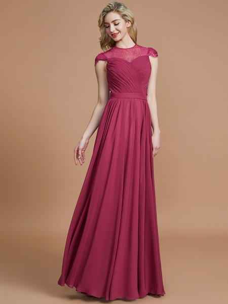 A-Line/Princess Scoop Short Sleeves Chiffon Floor-Length Bridesmaid Dresses