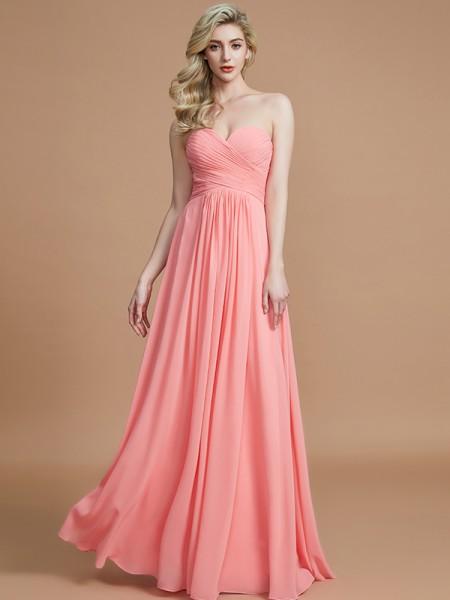 A-Line/Princess Sweetheart Sleeveless Floor-Length Chiffon Bridesmaid Dresses