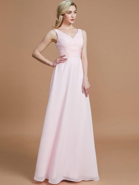 A-Line/Princess Sleeveless Floor-Length Chiffon V-neck Bridesmaid Dresses