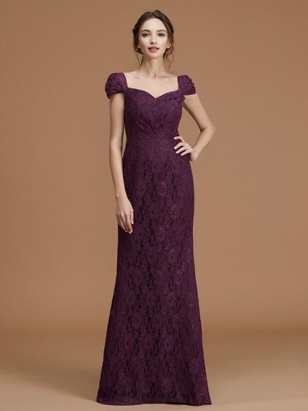 Sheath/Column Sweetheart Short Sleeves Floor-Length Lace Satin Bridesmaid Dresses