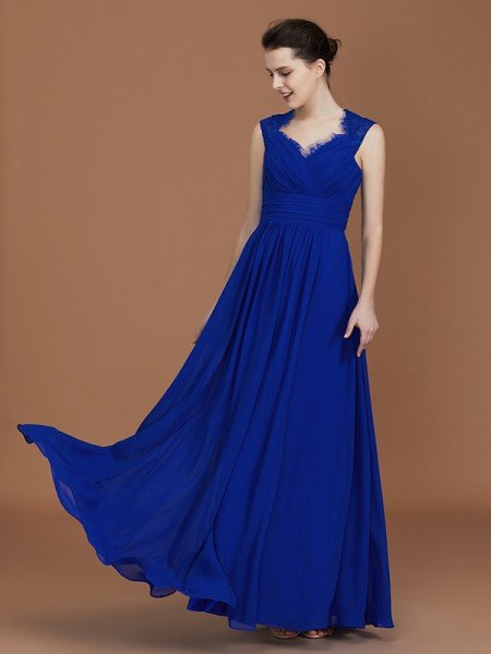 A-Line/Princess Sweetheart Sleeveless Ruffles Floor-Length Chiffon Bridesmaid Dresses