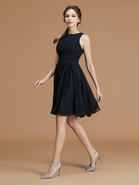 A-Line/Princess Bateau Sleeveless Short/Mini Ruffles Chiffon Bridesmaid Dresses