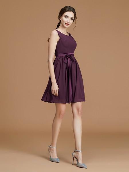 A-Line/Princess Bateau Sleeveless Short/Mini Sash/Ribbon/Belt Chiffon Bridesmaid Dresses