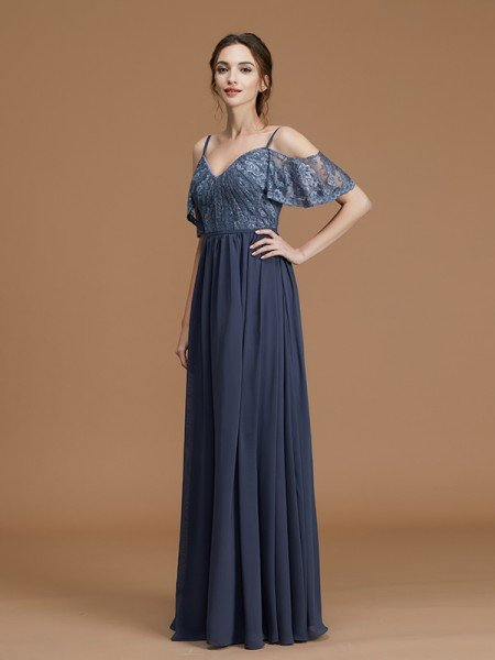 A-Line/Princess Spaghetti Straps Sleeveless Floor-Length Lace Chiffon Bridesmaid Dresses