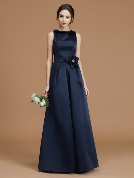 A-Line/Princess Bateau Sleeveless Floor-Length Hand-Made Flower Satin Bridesmaid Dresses