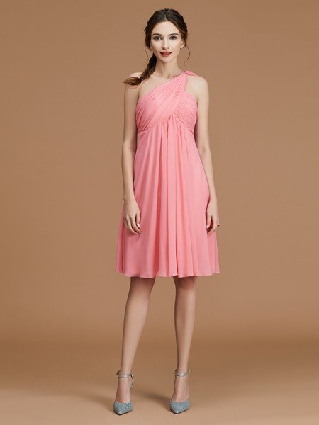 A-Line/Princess One-Shoulder Sleeveless Short/Mini Ruched Chiffon Bridesmaid Dresses