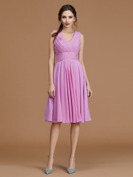 A-Line/Princess V-neck Sleeveless Short/Mini Ruched Chiffon Bridesmaid Dresses