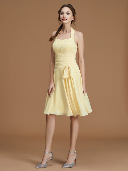 A-Line/Princess Halter Sleeveless Short/Mini Ruffles Chiffon Bridesmaid Dresses