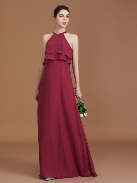 A-Line/Princess Scoop Sleeveless Floor-Length Ruffles Chiffon Bridesmaid Dress Ruffles