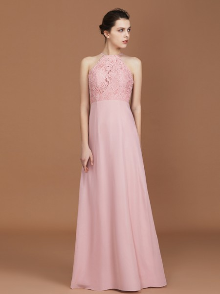 A-Line/Princess Halter Sleeveless Lace Floor-Length Chiffon Bridesmaid Dress