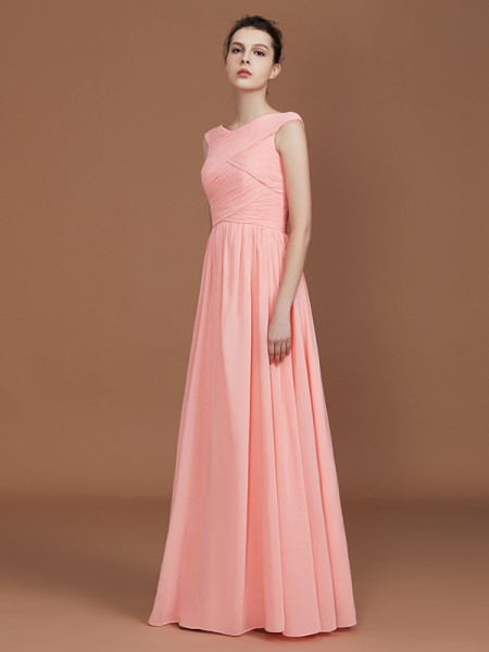 A-Line/Princess V-neck Sleeveless Floor-Length Chiffon Bridesmaid Dress