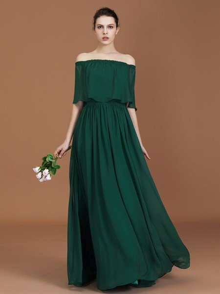 A-Line/Princess Pleats Off-the-Shoulder Floor-Length Chiffon Bridesmaid Dress