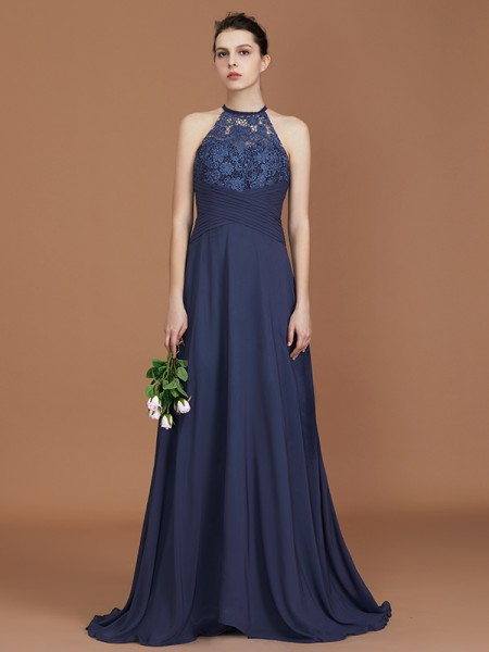 A-Line/Princess Scoop Sleeveless Sweep Train Chiffon Lace Bridesmaid Dress