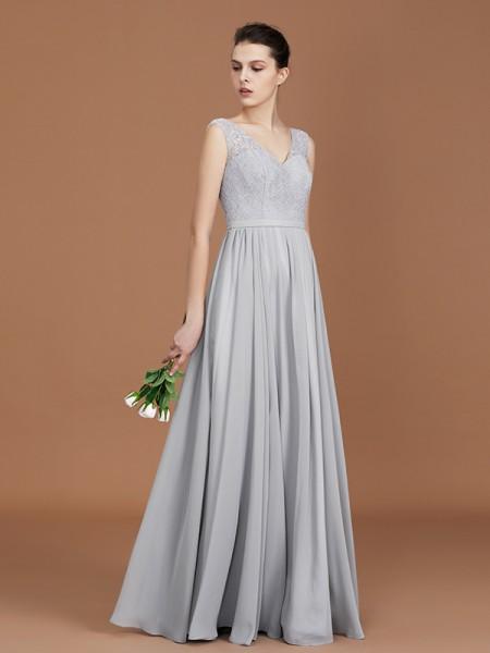 A-Line/Princess V-neck Sleeveless Floor-Length Chiffon Lace Bridesmaid Dress