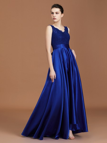 A-Line/Princess V-neck Sleeveless Satin Asymmetrical Lace Bridesmaid Dress