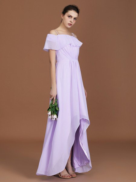 A-Line/Princess Asymmetrical Short Sleeves Off-the-Shoulder Ruched Chiffon Bridesmaid Dresses