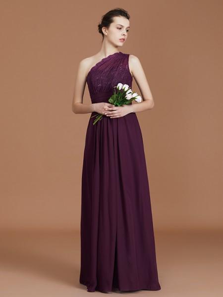 A-line/Princess One-Shoulder Lace Chiffon Sleeveless Floor-Length Bridesmaid Dresses