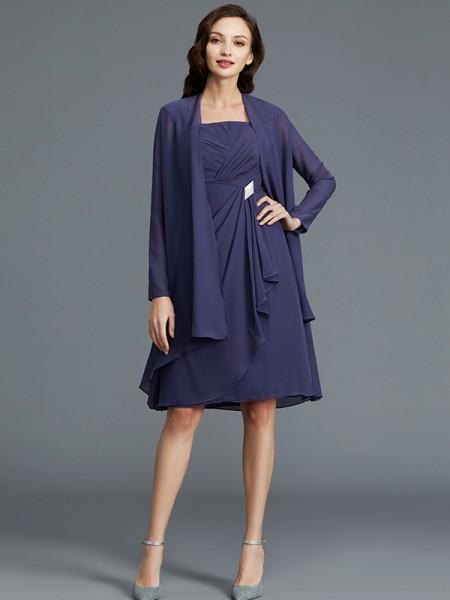 Sheath/Column Straps Chiffon Knee-Length Sleeveless Mother of the Bride Dresses