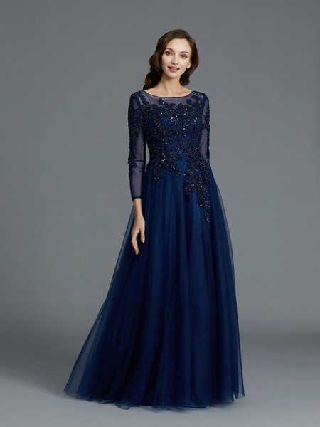 A-Line/Princess Long Sleeves Scoop Beading Floor-Length Tulle Mother of the Bride Dresses