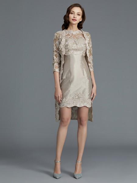 Sheath/Column Scoop Applique Sleeveless Taffeta Knee-Length Mother of the Bride Dresses