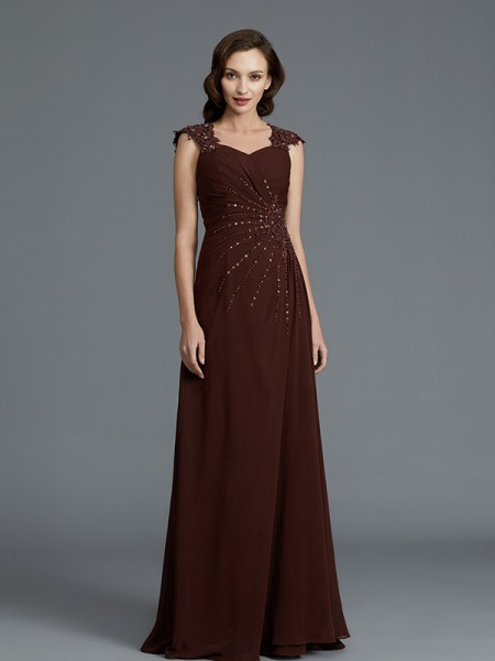 A-Line/Princess Sweetheart Sleeveless Chiffon Floor-Length Beading Mother of the Bride Dresses