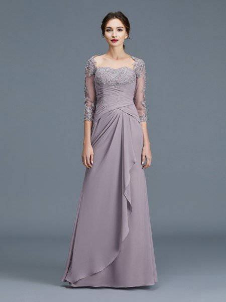 de1204ed7993c Sheath/Column 3/4 Sleeves Sweetheart Ruffles Chiffon Floor-Length Mother of  the