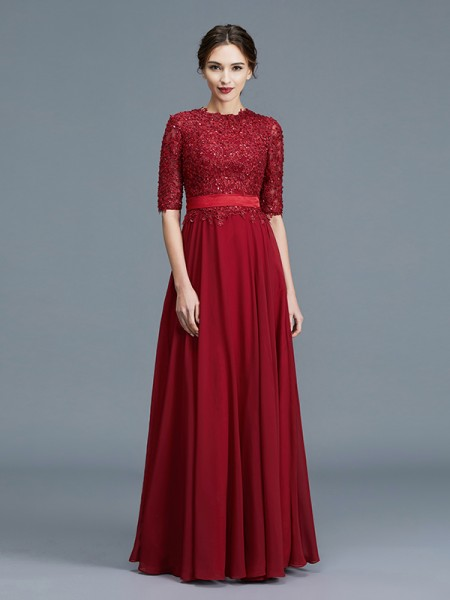 A-Line/Princess Scoop 1/2 Sleeves Chiffon Applique Floor-Length Mother of the Bride Dresses
