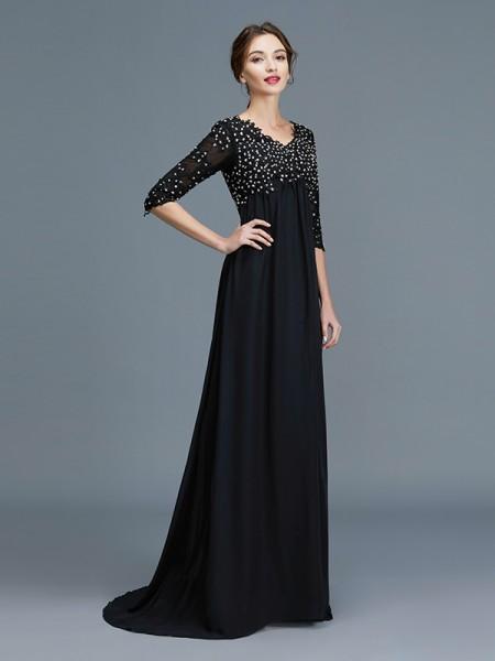 A-Line/Princess V-neck 1/2 Sleeves Beading Chiffon Floor-Length Mother of the Bride Dresses
