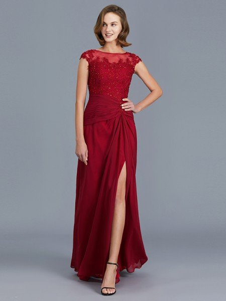 Sheath/Column Scoop Sleeveless Chiffon Ruffles Floor-Length Mother of the Bride Dresses